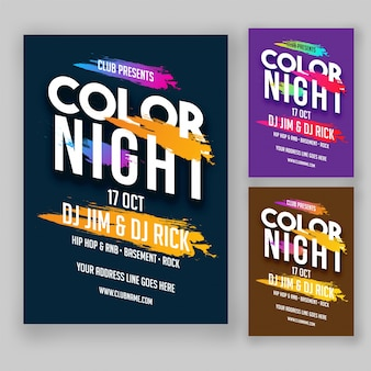 Color night party flyer or poster design in green, purple and golden color options.
