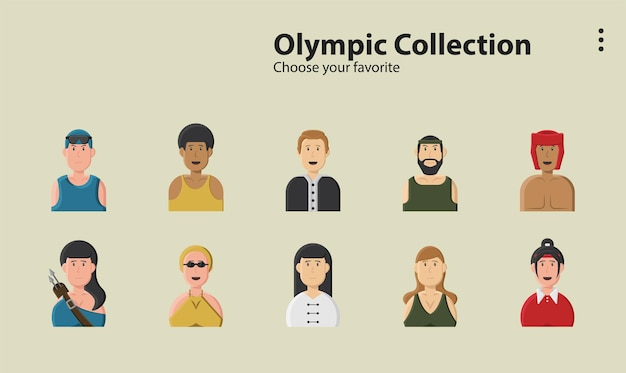 Color olympic champion athlete competition games nation men illustration background