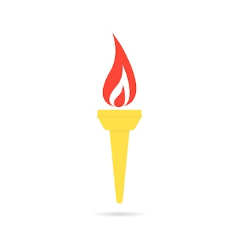 Color olympic flame icon. concept of winning, contest, teamwork, decoration, flaming torch. flat style trend modern olympic flame logotype graphic art design vector illustration on white background