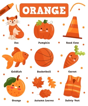 Colore arancione e vocabolario impostato in inglese