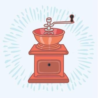 手動真鍮コーヒーグラインダーのカラーアウトラインイラスト