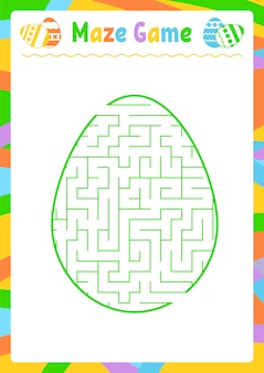 Color oval labyrinth. kids worksheets. activity page. game puzzle for children. egg, holiday, easter.