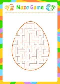 Color oval labyrinth. kids worksheets. activity page.