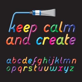 Цвет краски шрифта и тюбик краски. жидкие глянцевые яркие цветные буквы.