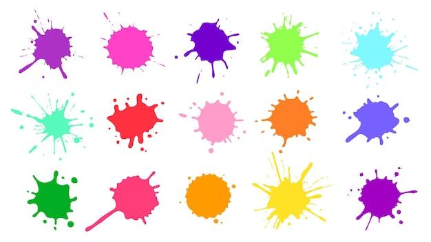カラーペイントスプラッタ。カラフルなインクの染み、抽象的な絵の具のはね、濡れた感嘆符。水彩またはスライムの染みセット。