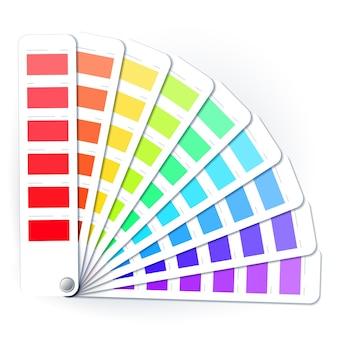 Color palette guide of paint sample, paint selection catalog.