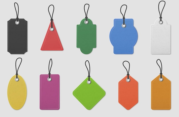 Color paper price tag labels. realistic colored shopping hanging tags with ropes for pricing marking, message tag mockup, vector set. blank template collection of triangular, rectangular, oval shape
