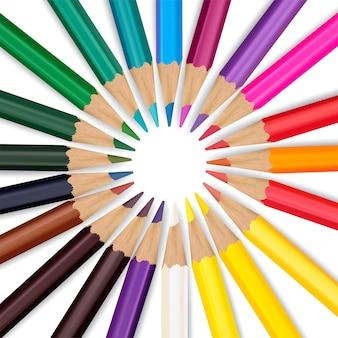 Цветные карандаши, изолированные на белом фоне. векторная иллюстрация