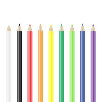 Цветные карандаши, изолированные на белом векторные иллюстрации