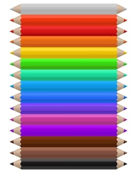 Цветные карандаши. набор разноцветных карандашей, офисных или школьных принадлежностей, расположенных в линию по цветам, яркий радужный творческий детский инструмент для рисования векторных изолированных иллюстраций на белом