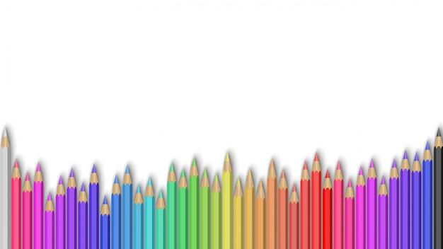 Color pencils set on white background