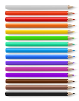 Цветные карандаши с разными яркими цветными деревянными карандашами, креативные канцелярские товары
