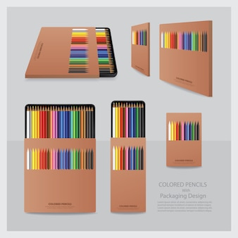 Color pencils with packaging design realistic