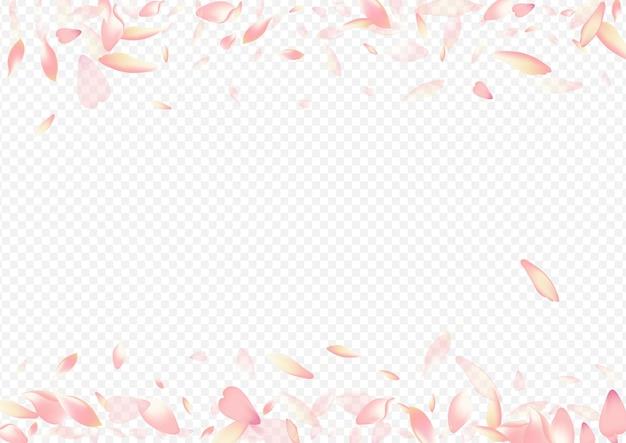 色の花びらベクトル透明な背景。ハートフリーの背景。さくらグラフィックポスター。桃の結婚おめでとうございます。赤い花のロマンチックなパターン。