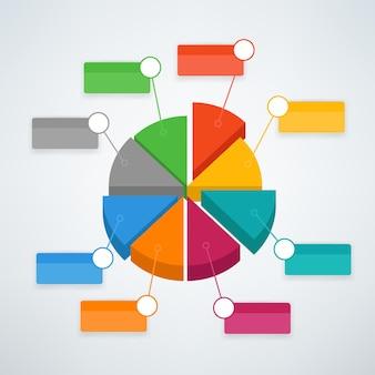 カラー円グラフインフォグラフィックベクトルテンプレート。プレゼンテーション用のベクターテンプレート