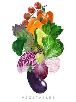新鮮な野菜の手描きのベクトルの色の山