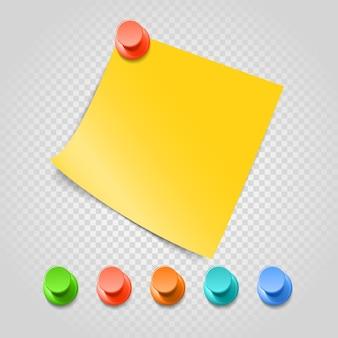 Цветные булавки и скрепки, изолированные на прозрачном. набор векторных различных булавок