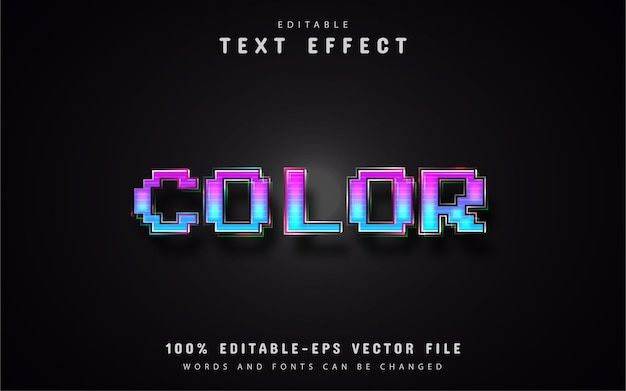 Color pixel text effects
