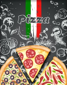 Color pizza poster. savoury pizza ads illustration Premium Vector
