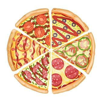 カラーピザの上面図。 3dイラストが豊富なトッピング生地を使ったおいしいピザ広告。カフェ、レストラン、フードデリバリーサービスのカラフルでおいしいバナー。