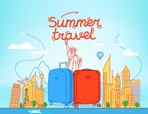 Color plastic suitcases with abstract cityscape with famous sightseengs.