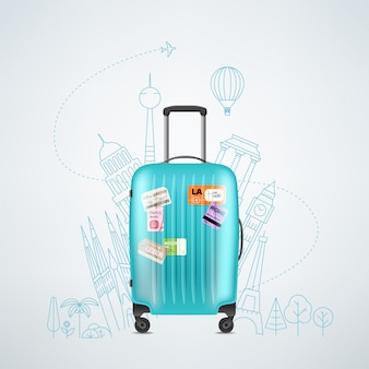 Color plastic travel bag with different travel elements illustration