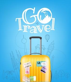 Цветной пластиковый дорожный мешок с различными элементами путешествия векторные иллюстрации концепция путешествия