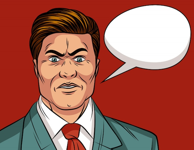 Цвет поп-арт комиксов стиль иллюстрация потрясенного человека. изумленное лицо мужчины. привлекательный молодой бизнесмен очень удивлен.