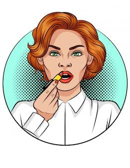 口紅を適用する女の子のカラーポップアートコミックスタイルのイラスト。若い魅力的な女性は化粧をします。赤い髪の美しい少女は化粧に赤い口紅を使用します
