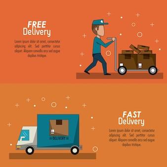 Color poster banner scene fast delivery man