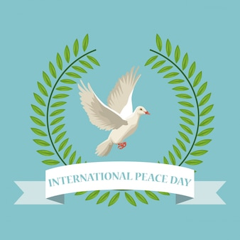 Color poster crown of leaves with label international peace day