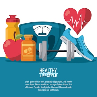 Color poster elements sport healthy lifestyle with heartbeat rhythm