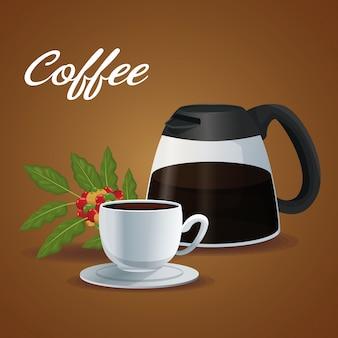 カラフルなポストガラスの瓶、コーヒーとハンドルと磁器のカップ