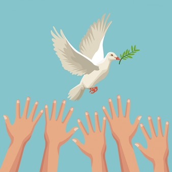 Color poster hands and pigeon peace symbol with olive branch in peak