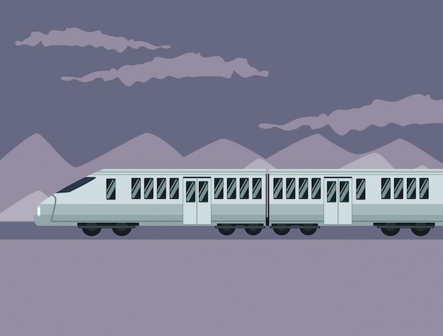 Color poster mountain landscape with modern train in railways