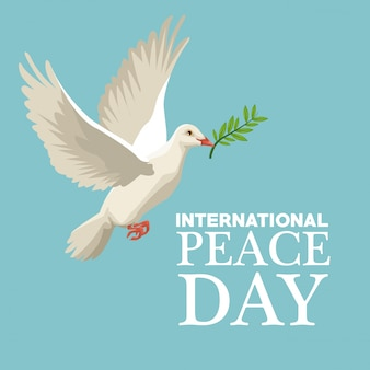 Color poster pigeon flying with olive branch in peak international peace day