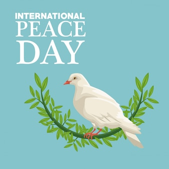 Color poster side view pigeon with crown of leaves international peace day