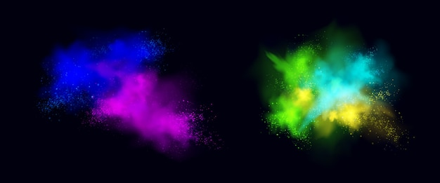 Color powder explosions isolated on black background. splash and spray of paint dust with particles. realistic set of burst effect of colorful powder clouds