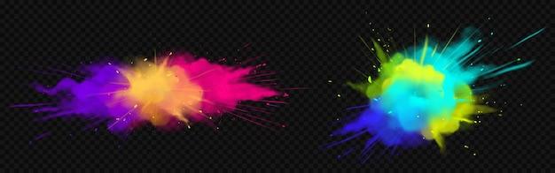 Esplosioni di polvere di colore isolate su uno spazio trasparente