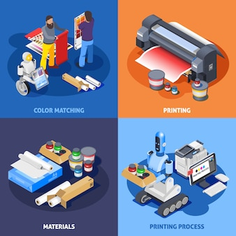 Color printing isometric composition