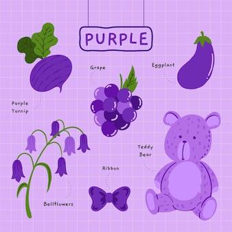 紫の色と英語で設定された語彙