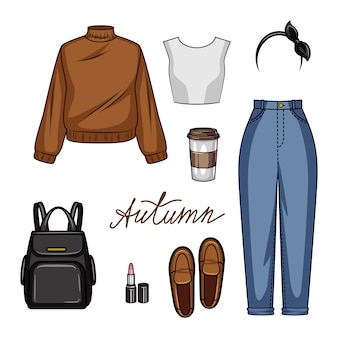 Color  realistic illustration of women's clothing for school. set of youth style of women's clothing and accessories isolated