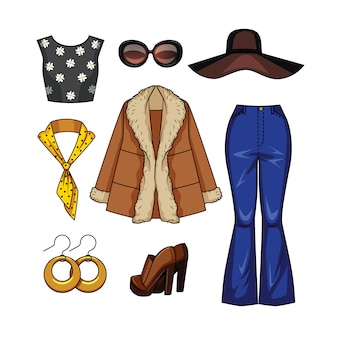 Color  realistic illustration of women's fashion clothes in the style of the 70s.