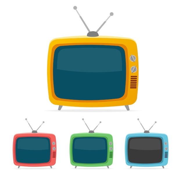 Color retro tv set isolated on white background.