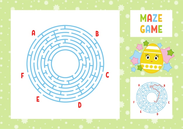 Color round labyrinth. kids worksheets. activity page. game puzzle for children.