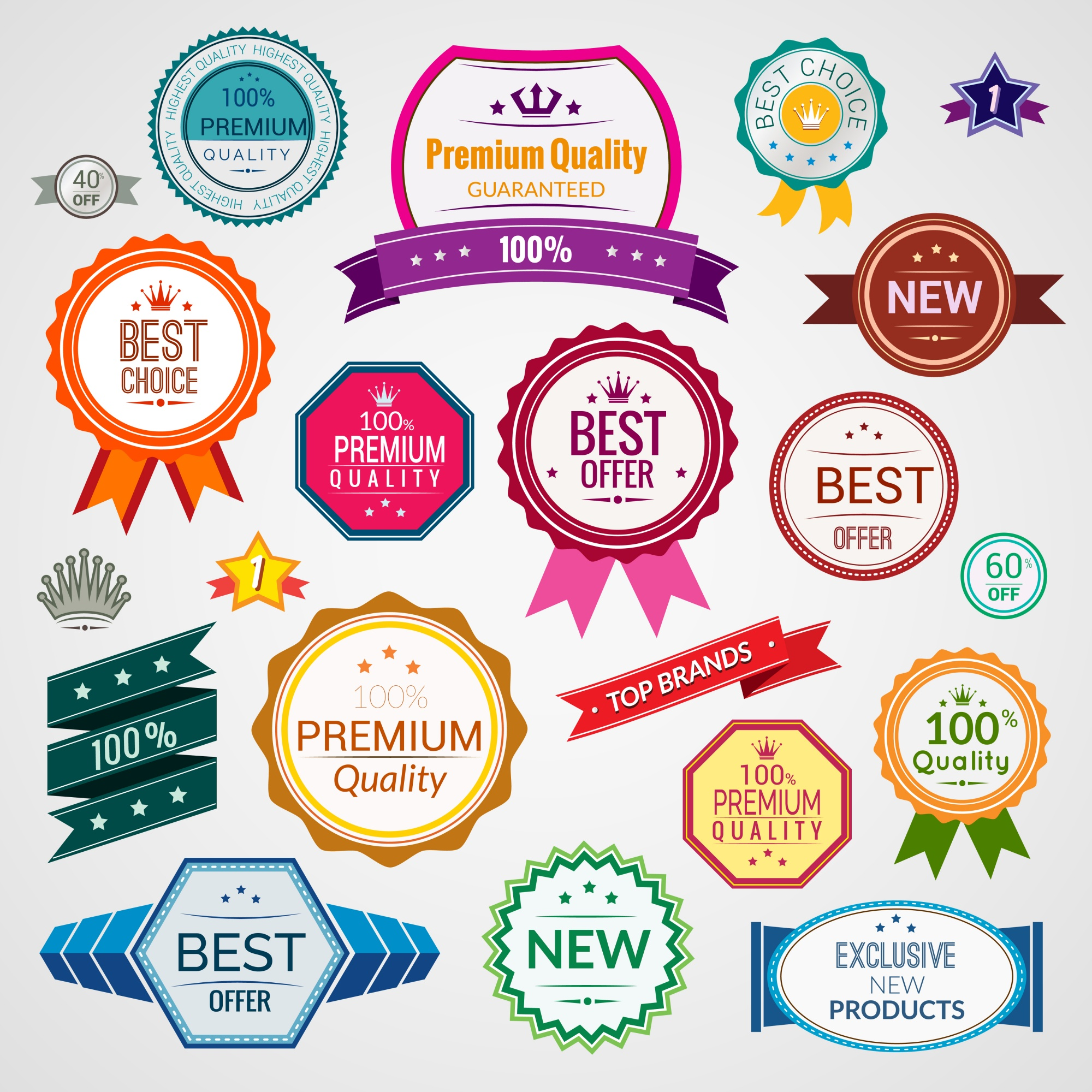 Color sale premium quality best choice exclusive labels set isolated vector illustration