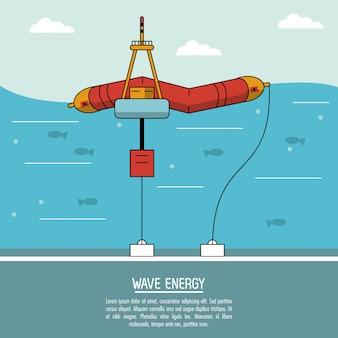 Color sea landscape background alternative energy source wave station