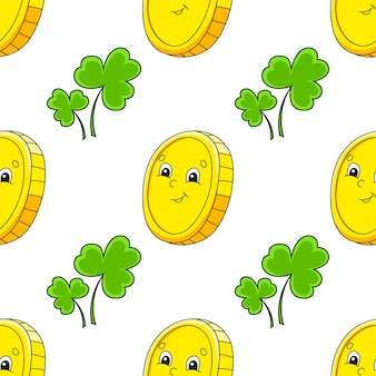 Color seamless pattern. gold coin. st. patrick 's day.