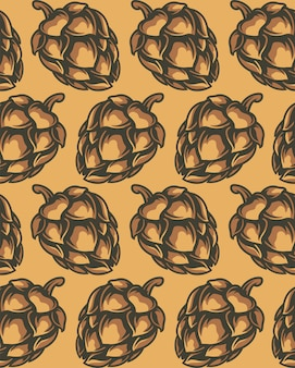 Color seamless pattern of hop cones.