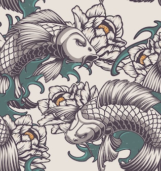 Color seamless pattern on the japanese theme with koi carp, peonies and waves.